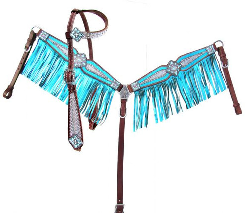 Showman® Bejeweled metallic headstall and breast collar set.