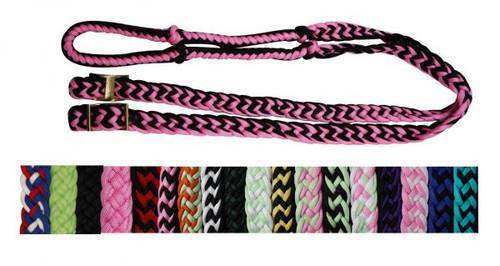 Showman™ braided nylon barrel reins with easy grip knots.