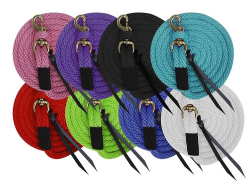"""5/8"""" x 10' deluxe poly lead with removable brass snap and leather ends."""