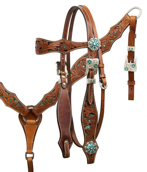 Showman ® Teal inlay headstall and breast collar set with crystal rhinestones