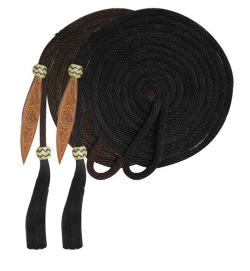 Showman® 21' Nylon Mecate Reins with Horse Hair Tassle and Leather Popper.