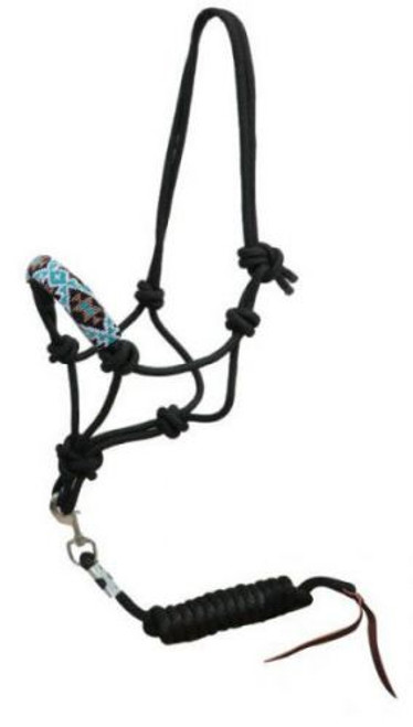Showman ® Beaded nose cowboy knot rope halter with 7' lead. .