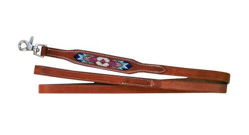 Showman Couture ™ genunine leather dog leash with beaded inlay.