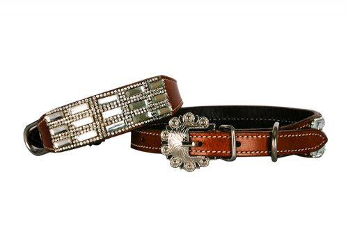 Showman Couture ™ Genuine leather dog collar with clear rhinestone crystals.