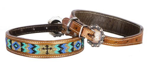 Showman Couture ™ Genuine leather dog collar with beaded inlay.