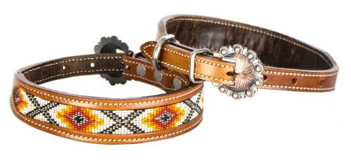 Showman Couture ™ Genuine leather dog collar beaded inlay..