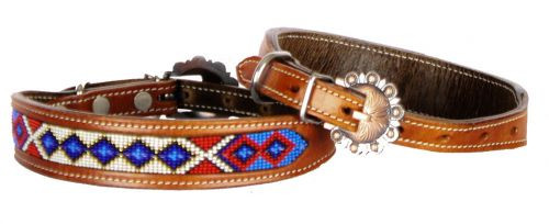 Showman Couture ™ Genuine leather dog collar beaded inlay