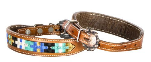 Showman Couture ™ Genuine leather dog collar with beaded inlay. ..