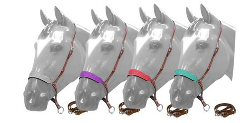 Showman ® Glitter overlay leather tie down noseband and strap.