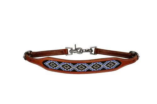 Showman ® Medium leather wither strap with periwinkle beaded inlay.