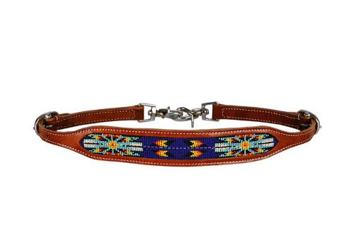 Showman ® Medium leather wither strap with royal blue beaded inlay.