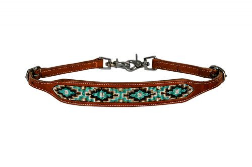 Showman ® Medium leather wither strap with teal beaded inlay.