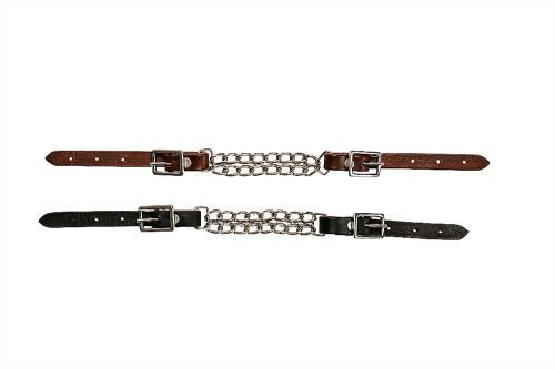 Showman ® Fully adjustable end double chain leather curb chain.