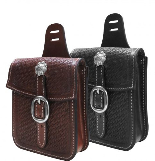 Showman ® Basket tooled saddle pocket.