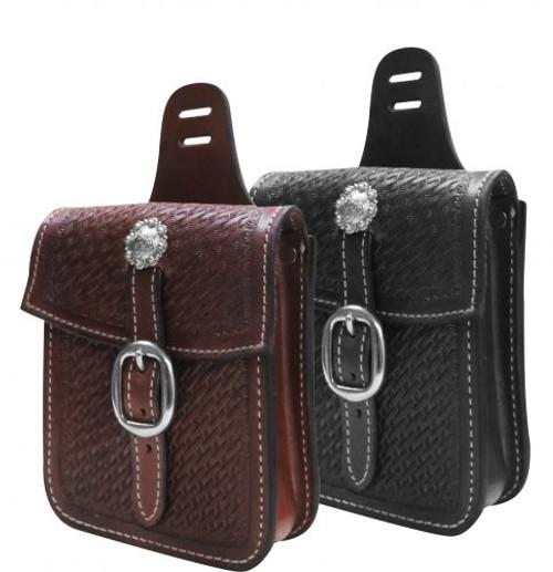 Showman ® Basket tooled saddle pocket.
