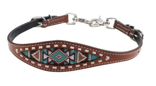 Showman ® Navajo beaded inlay wither strap.