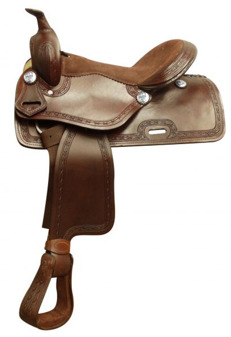 """16"""" Economy style saddle with smooth finish and barbed wire tooled border."""