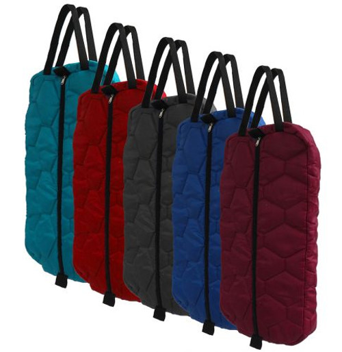 Showman® Quilted nylong bridle bag with zipper front.