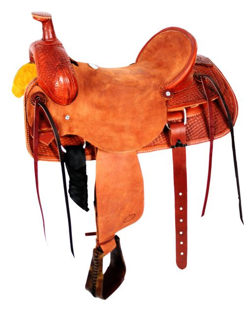 "15"", 16"", 17"", Showman™ Hard seat roper saddle."