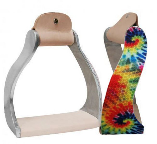 Showman ® Lightweight twisted angled aluminum stirrups with shimmering tie dye print.