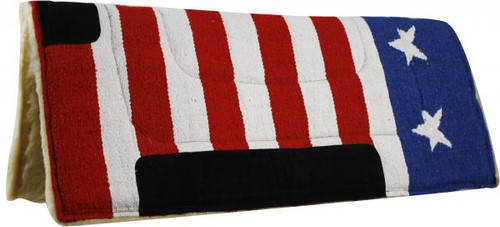 "30"" x 32"" American flag pad with suede wear leathers."
