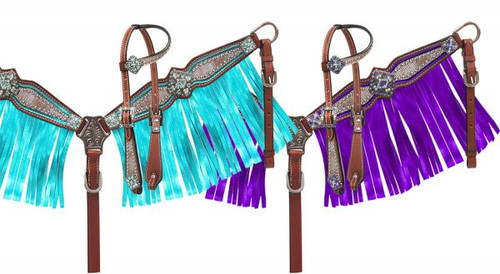 Showman ® Pony Size Headstall and breast collar set with holographic snake print and metallic color fringe.