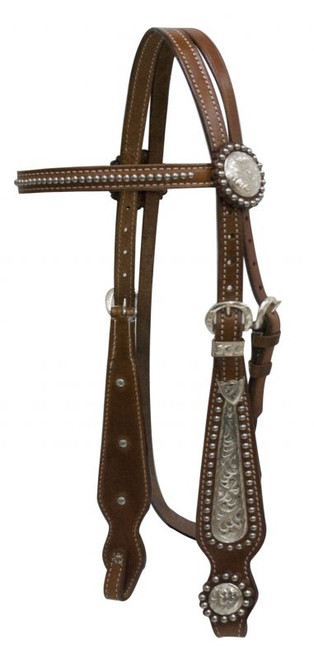 Showman Double Stitched Leather Headstall With Silver Browband And Cheeks