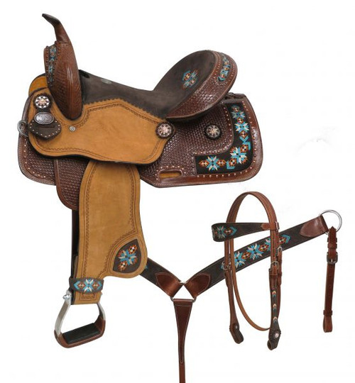 """14"""", 15"""", Double T  barrel style saddle set with embroidered Navajo."""