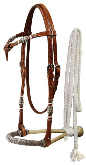 Showman™  leather futurity knot rawhide braided show bosal with mecate reins.