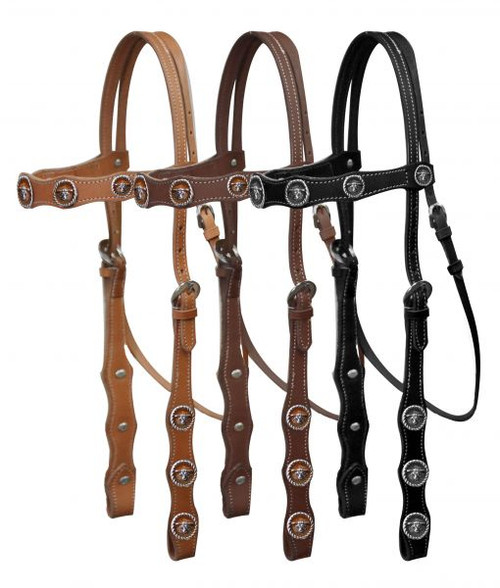 Leather double stitched headstall with steer head conchos.
