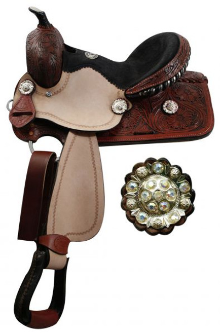 """12"""" youth Double T barrel saddle with fully tooled pommel, skirts and cantle."""