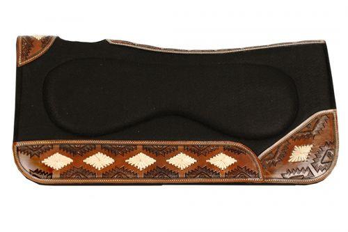 "Showman ® 31"" x 32"" x 1"" Southwest designed contoured felt saddle pad with built up center."