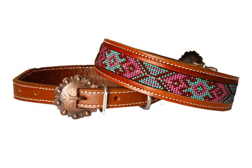 Showman Couture ™ Genuine leather dog collar with red, pink, and mint beaded inlay.