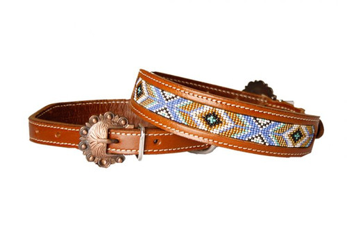 Showman Couture ™ Genuine leather dog collar with periwinkle, mint, gold, and white beaded inlay.