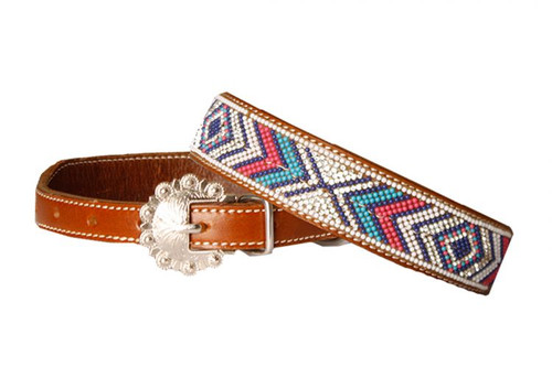 Showman Couture ™ Genuine leather dog collar with turquoise, pink, navy and white beaded inlay and crystal rhinestone accents.