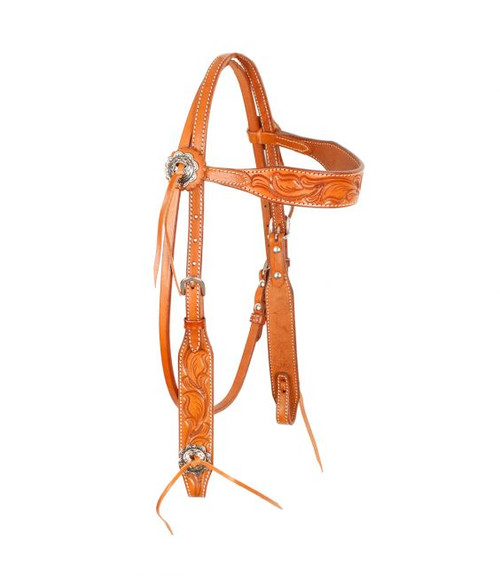 Showman ® Argentina cow leather browband headstall with floral tooling.