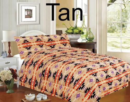 4 piece King Size Southwest Design Luxury Comforter Set.