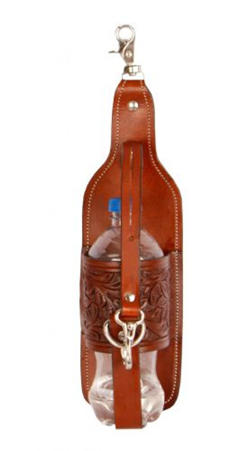 Showman® Acorn tooled leather bottle holder with scissor snap attachement.