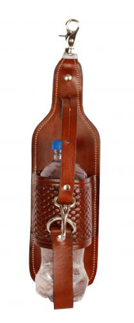 Showman® Basketweave tooled leather bottle holder with scissor snap attachment.