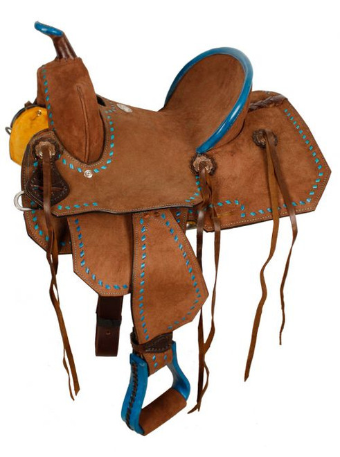 """12"""" Double T Youth/Pony Chocolate Roughout Barrel Saddle with turquoise buckstitch."""