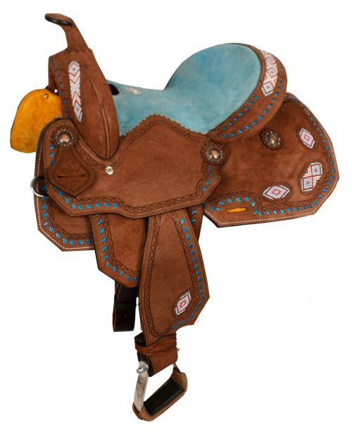 """13"""" Double T Youth/Pony Chocolate Roughout Barrel Saddle with pink and turquoise beaded inlay and turquoise buckstitch."""