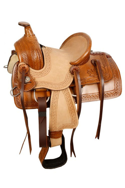 "10"" Double T  Pony hard seat roper style saddle with acorn tooling."