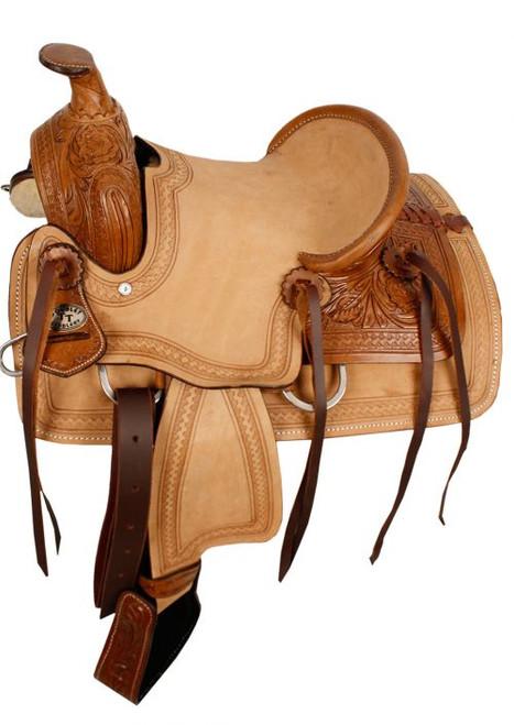 "12"" Double T hard seat roper style saddle with acorn tooling."