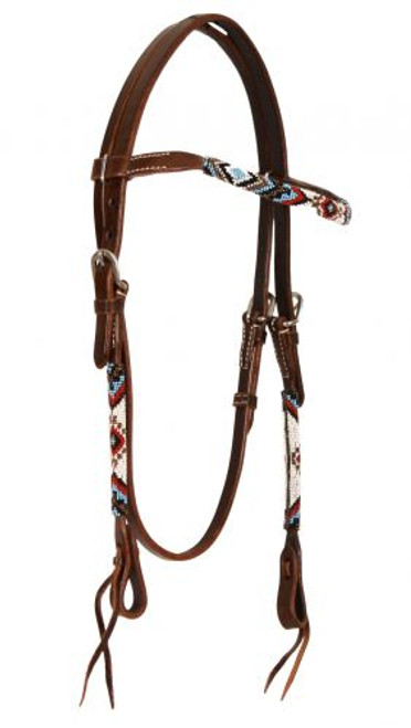 Showman ® Beaded one browband headstall. Headstall is made of Argentina leather.