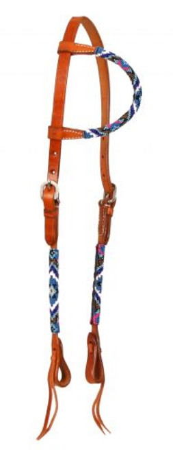 Showman ® Beaded one ear headstall. Headstall is made of Argentina leather.
