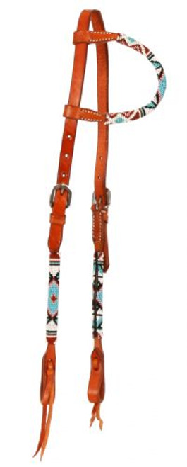 Showman ® Beaded one ear headstall. Headstall is made of Argentina leather. .