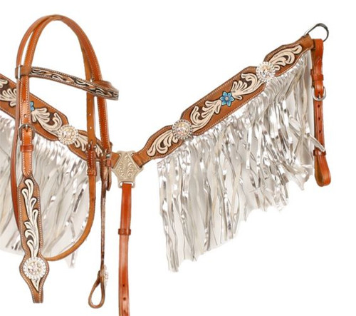 Showman ® Medium leather browband headstall and breast collar set with floral painting.