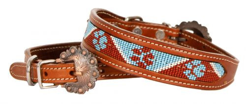 Showman Couture ™ Beaded paw print inlay leather dog collar with copper buckle..