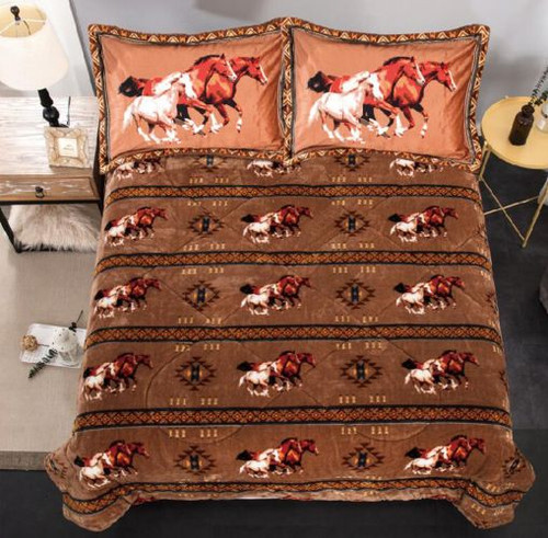 Queen Size 3 pc borrego comforter set with Geometric Running Horses.