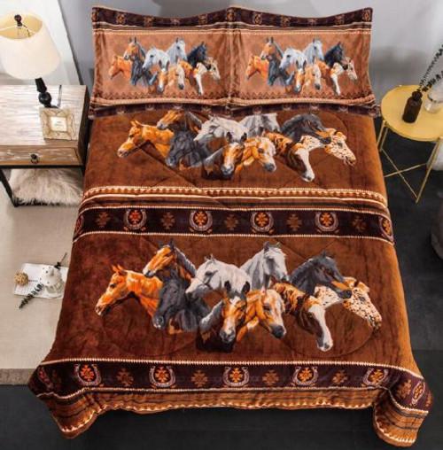 Queen Size 3 pc Borrego comforter set with geometric horse collage design.
